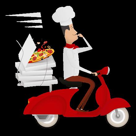 entrega de pizza - moto